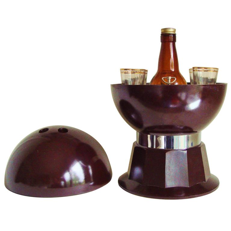 American Mid-Century Bakelite, Glass & Chrome Evans Musical Bowling Ball Bar Set 1