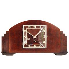Monumental German Art Deco Mahogany and Black Westminster Chime Mantel Clock