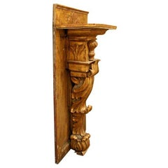 19th Century, Italian Carved Wood Console or Wall Bracket