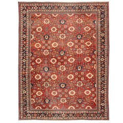 Antique Large Persian Mahal Rug with All Over Design in Red Background