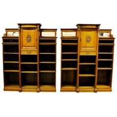 Bookcase Pair in Satin Walnut late 19th Century  by W. Walker & Sons, London