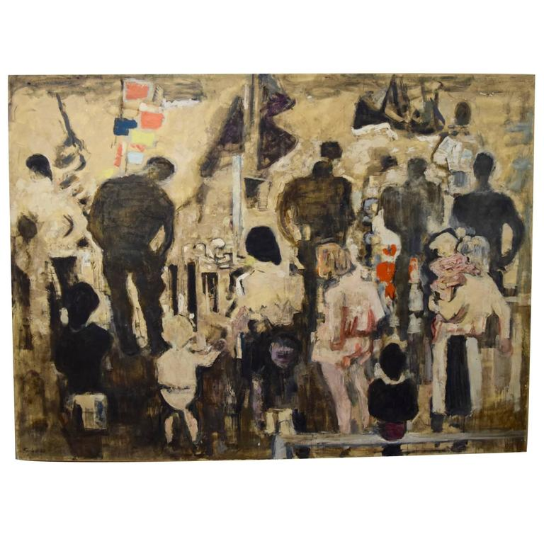 Beautiful Large-Scale Port-Scene Painting, Alexandre Sacha Garbell, France, 1967 For Sale