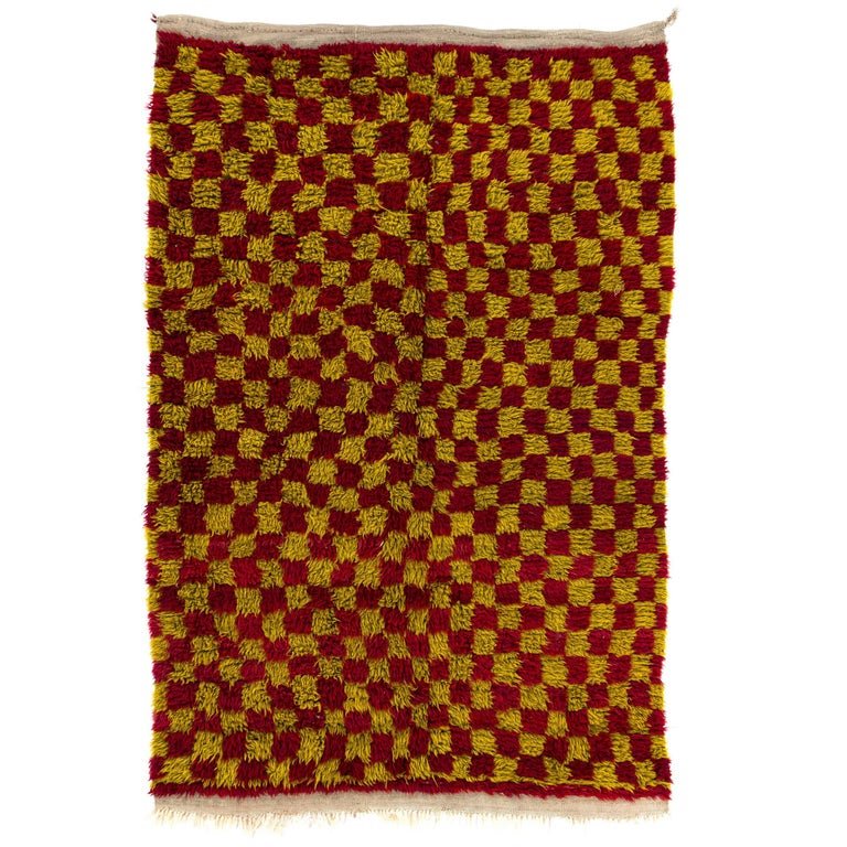 Chequered Mid-Century Tulu Rug For Sale