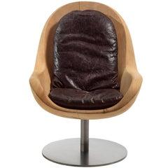 Desk Cedar Armchair in Natural Solid Cedar Wood on Rotative Metal Base