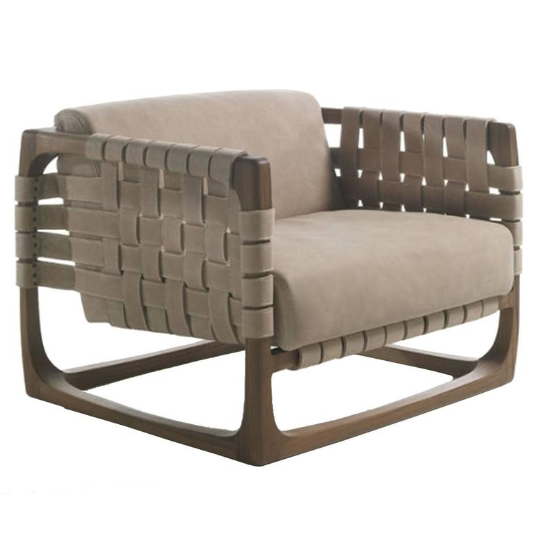 Webbing Armchair Padded Seat in Nubuck Leather and Frame in Natural Solid Oak For Sale