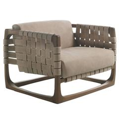 Webbing Armchair Padded Seat in Nubuck Leather and Frame in Natural Solid Oak