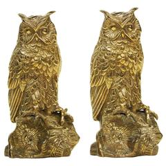Pair of 1950s Brass Owl Bookends Sculptures