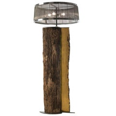 Open Oak Trunk Floor Lamp with Shards of Murano Glass