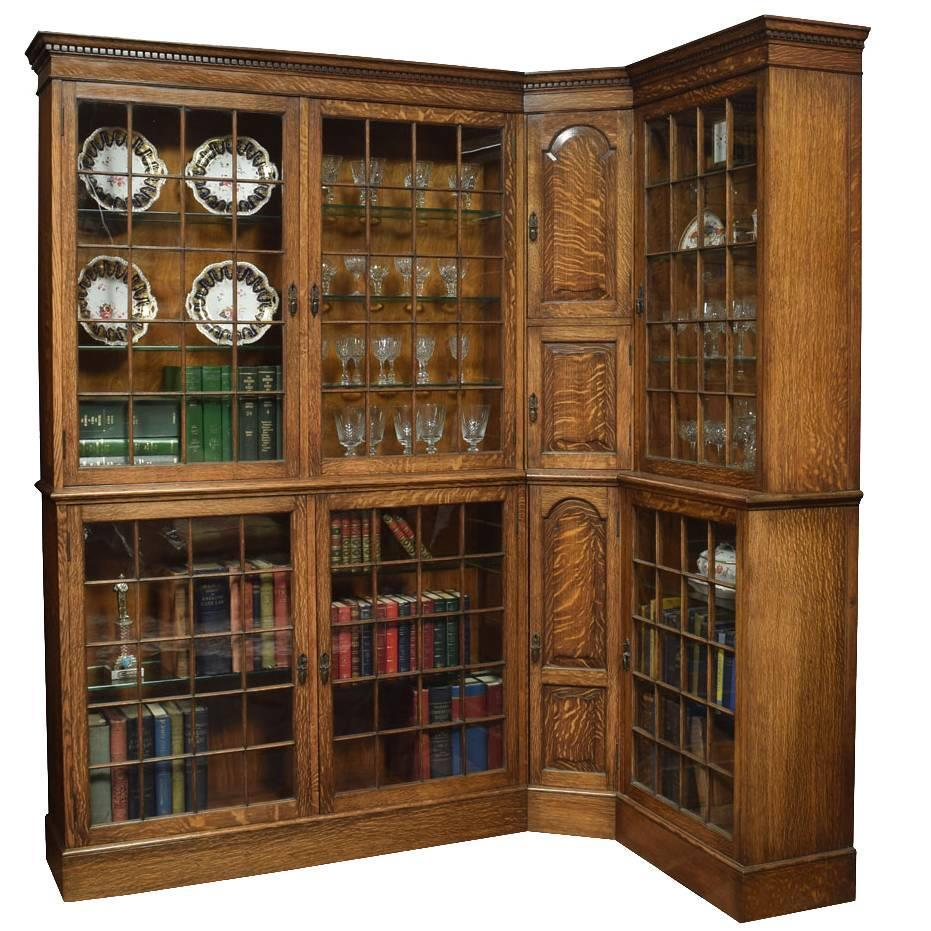 Oak corner bookcase for sale at stdibs