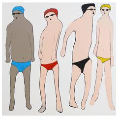 'Don't Talk about Swim Club' Portrait Painting by Alan Fears