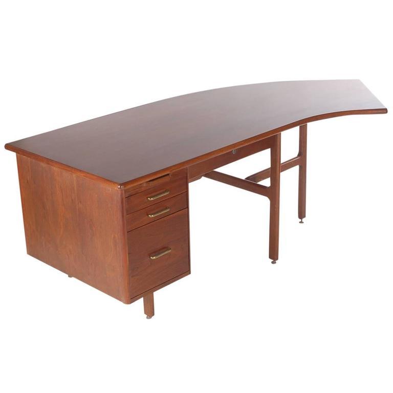 Danish Style Mid Century Modern Curved Executive Desk