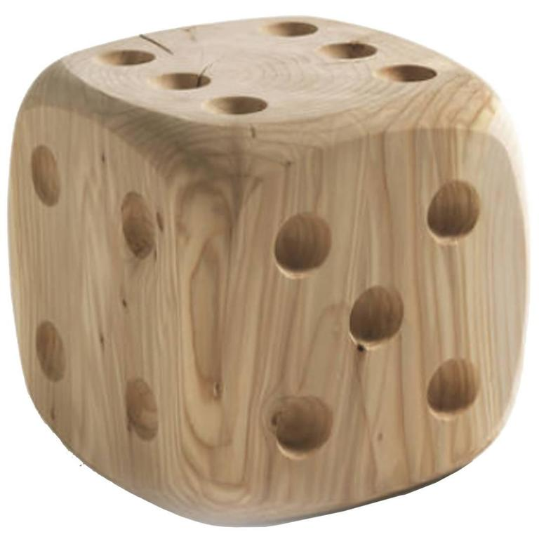 Dice Stool in Natural Solid Cedar Wood