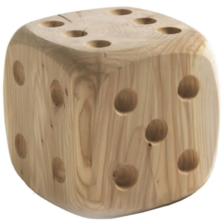 Dice Stool in Natural Solid Cedar Wood For Sale