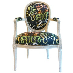 French Balloon Back Chair x Voutsa Snakes on Black