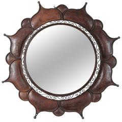 Moroccan Metal Handcrafted Round Outdoor Mirror