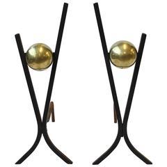 Stylish Midcentury Iron and Brass Andirons