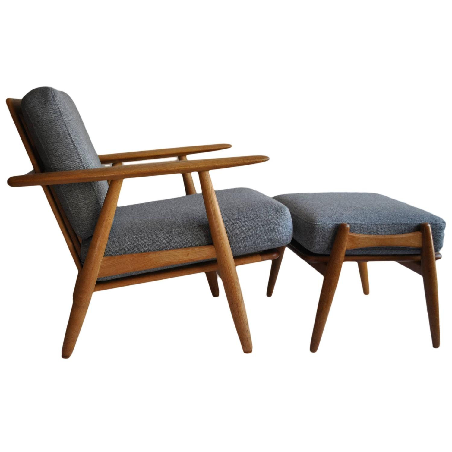 Hans J Wegner Cigar Chair with Footstool Original 1950s GETAMA at 1stdibs