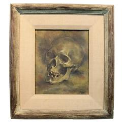 1945 Oil on Board of a Human Skull