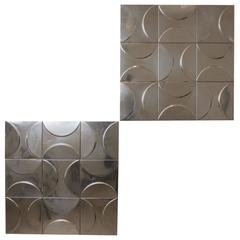 1970s, Set of 11 French Metal Decorative Panels of Relief Geometrical Figures