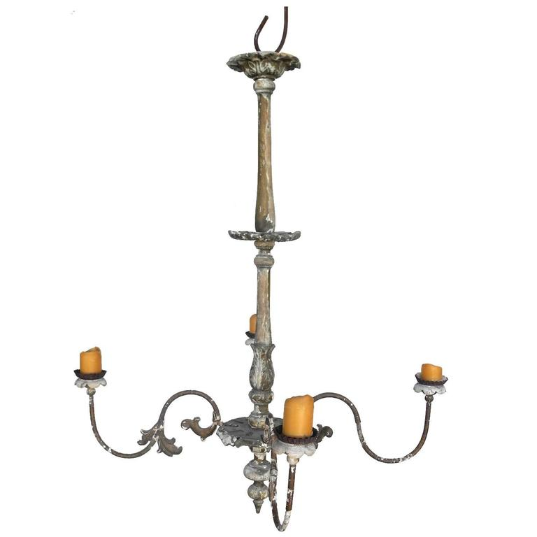 19th Century French Chandelier with Four Candelabra Arms 1