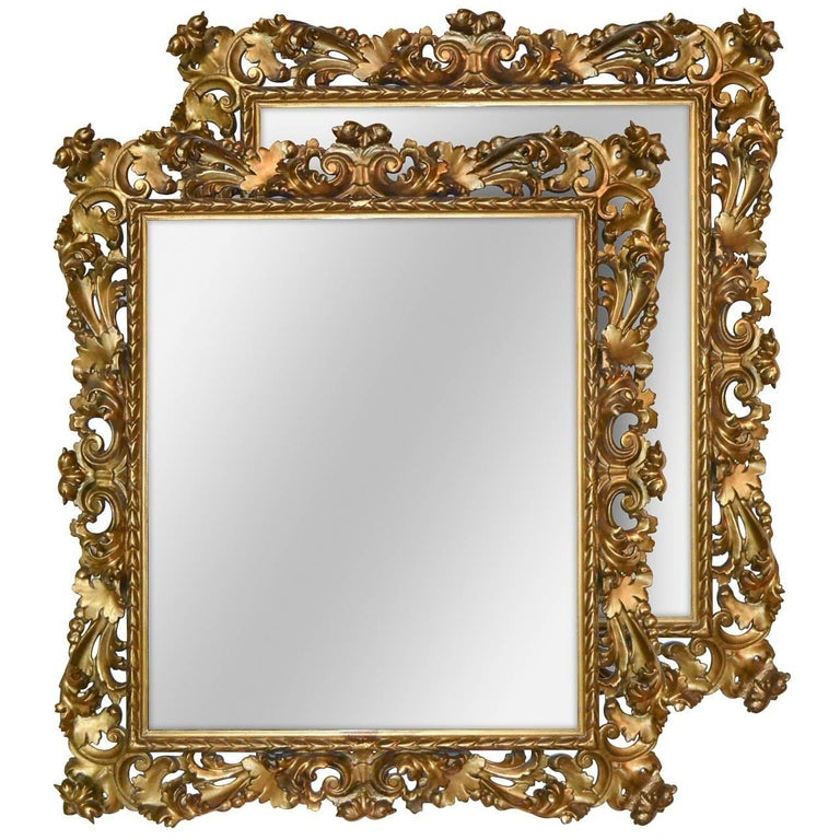 Superb 19th Century Pair of Italian Florentine Mirrors For Sale