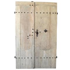 Pair of 18th Century Natural Walnut Doors with Nailheads and Original Hardware
