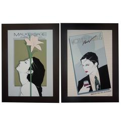 "Pair Rare Vintage Patrick Nagel Screenprints ""Malke Sage & Mother Earth Paris"""