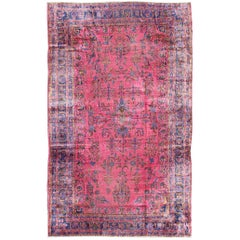 Antique Indian Lahore Large Carpet with Floral Design in Light Pink, Magenta