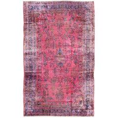 Antique Indian Lahore Large Carpet with Floral Design in Light Pink, Magenta