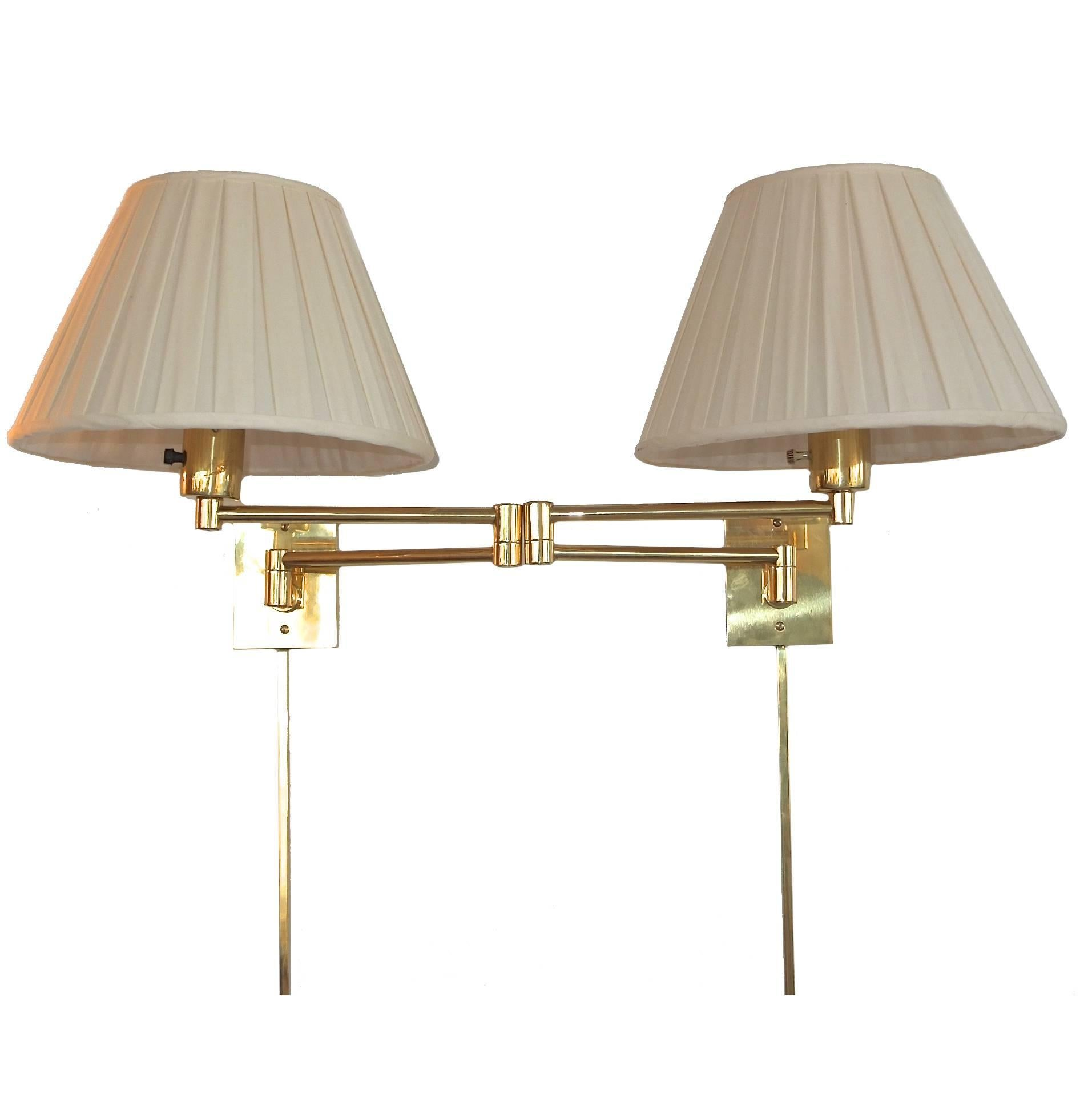3 Pair of Georg W. Hansen Brass 1706 Double Swing Arm Wall Lamps
