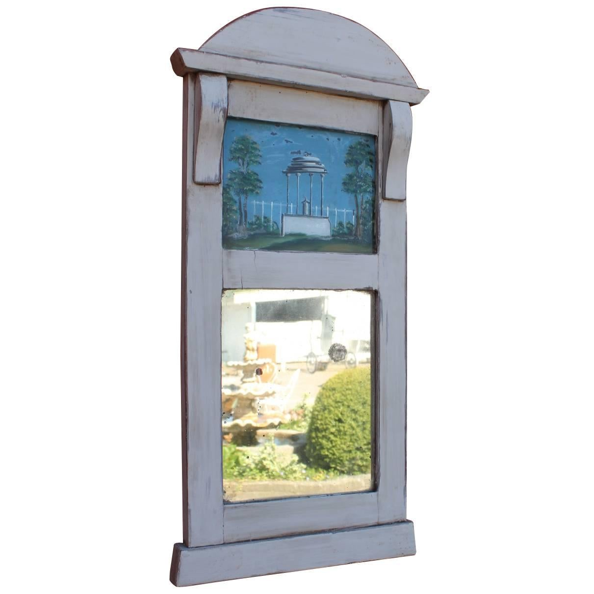 Small Grey Painted Gustavian Mirror, 1810