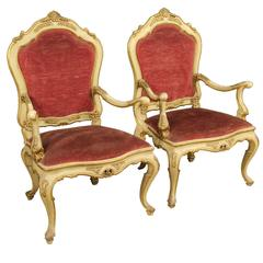 20th Century Pair of Lacquered Armchair Covered by Red Velvet