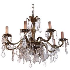 1920s Bronze and Crystal Eight-Arm Chandelier