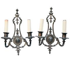 1910s Pair of Silver Plated Two-Arm Sconces