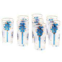 Set of Eight Mid-Century Frosted Glass Tumblers