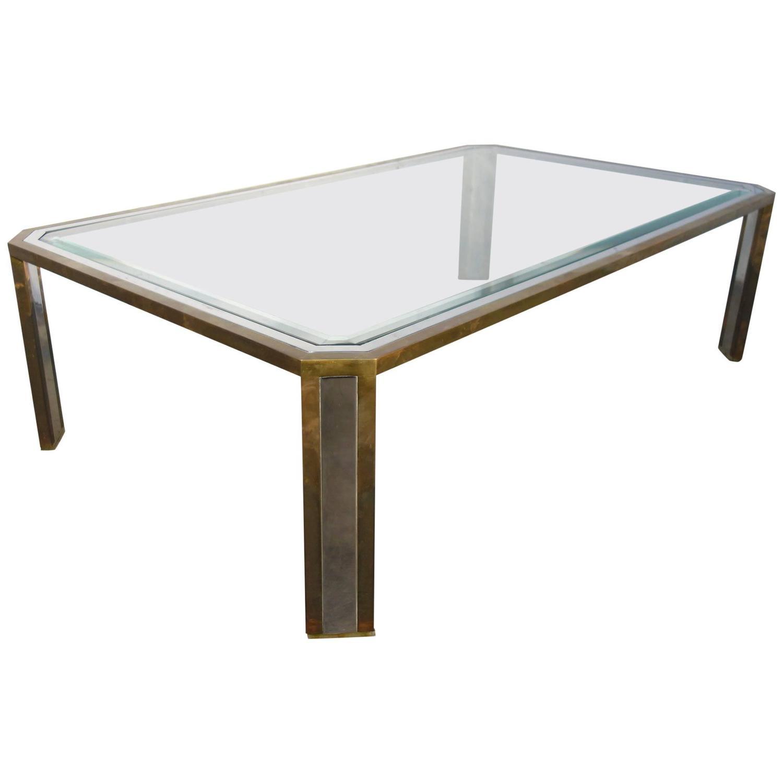 Mid century italian design coffee table in steel and brass - Coffee table italian design ...