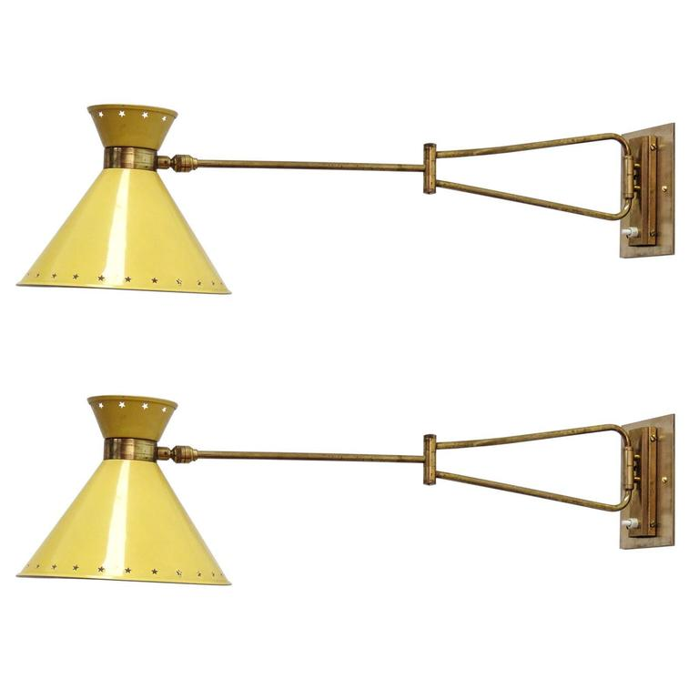 Pair of French Swing Arm Sconces by Lunel 1