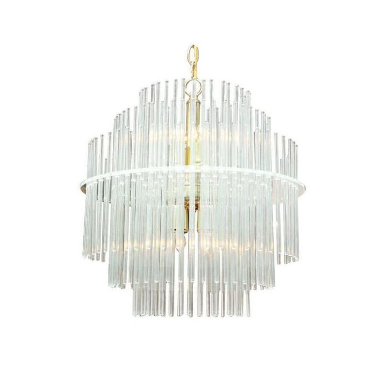 Lightolier Import Tiered Glass Rod Lucite Chandelier