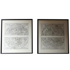 Le Spectacle De La Nature Framed Pairs of circa 1743 Celestial Chart Engravings