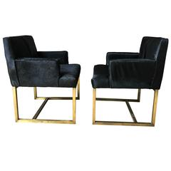 Pair of Mid-Century Swedish Brass and Black Hide Chairs