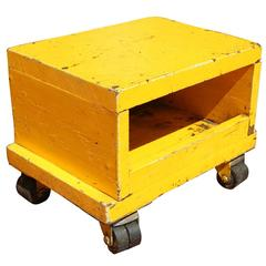 Industrial Box on Casters, Bright Yellow Paint