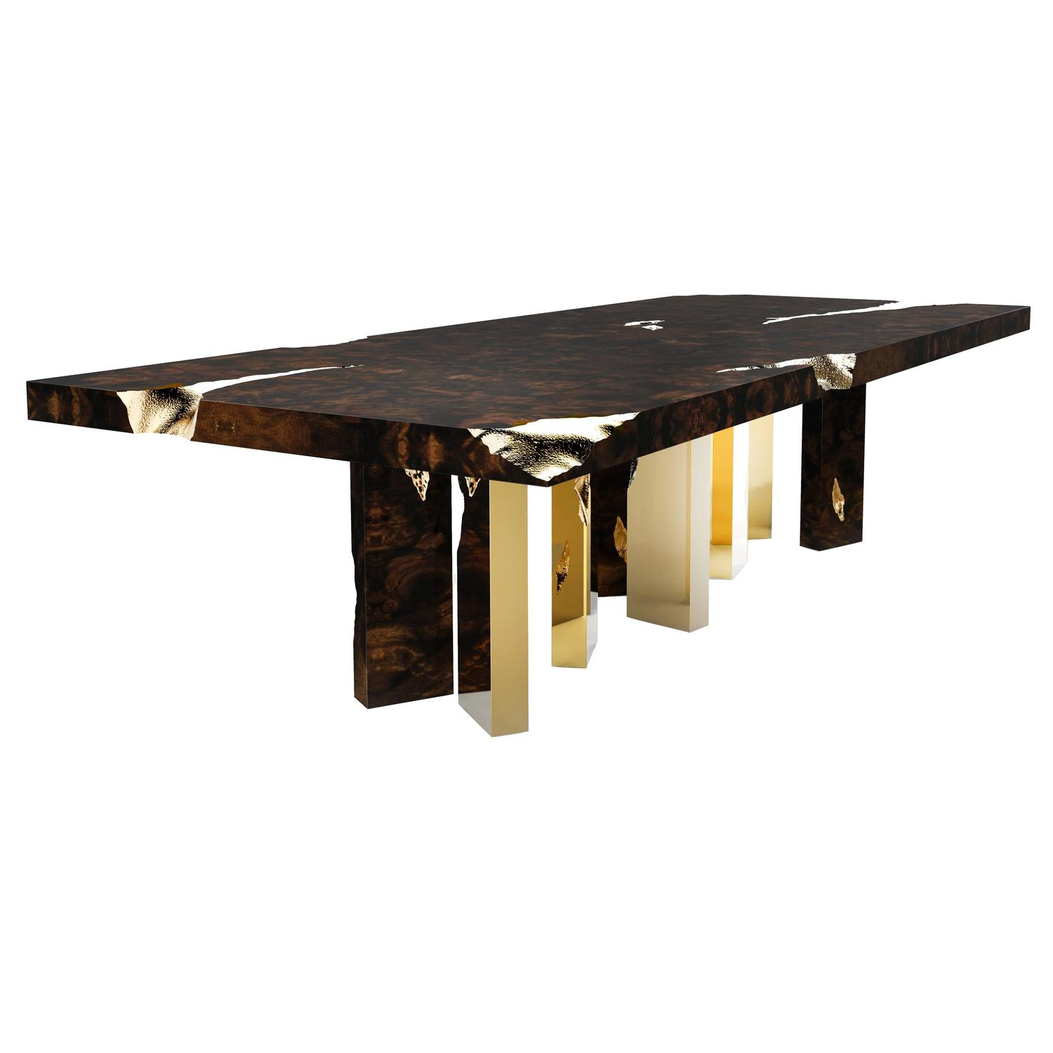 European Modern Wood and Brass Empire Center Coffee Table by Boca