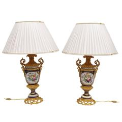 19th Century Pair of Great Sèvres Porcelain Lamps