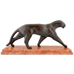 Michel Decoux Art Deco Bronze Panther Sculpture 1930 France
