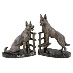 Art Deco German Shepherd Dog Bookends by Carvin, 1930 France