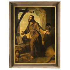 19th Century Italian Painting Oil on Canvas Ecstasy Saint Francis