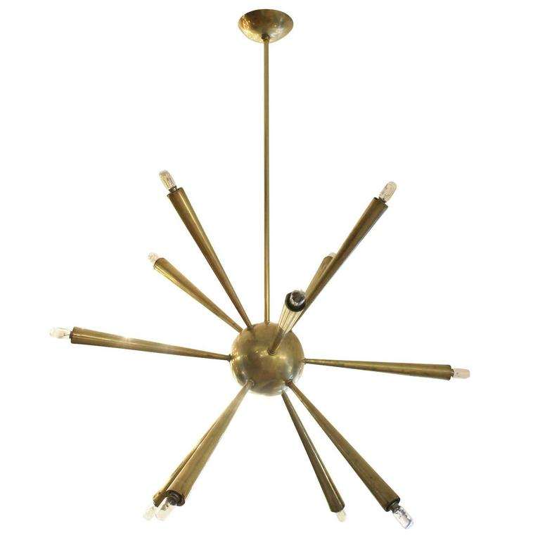 Early Brass Sputnik Chandelier, Italy, 1950s