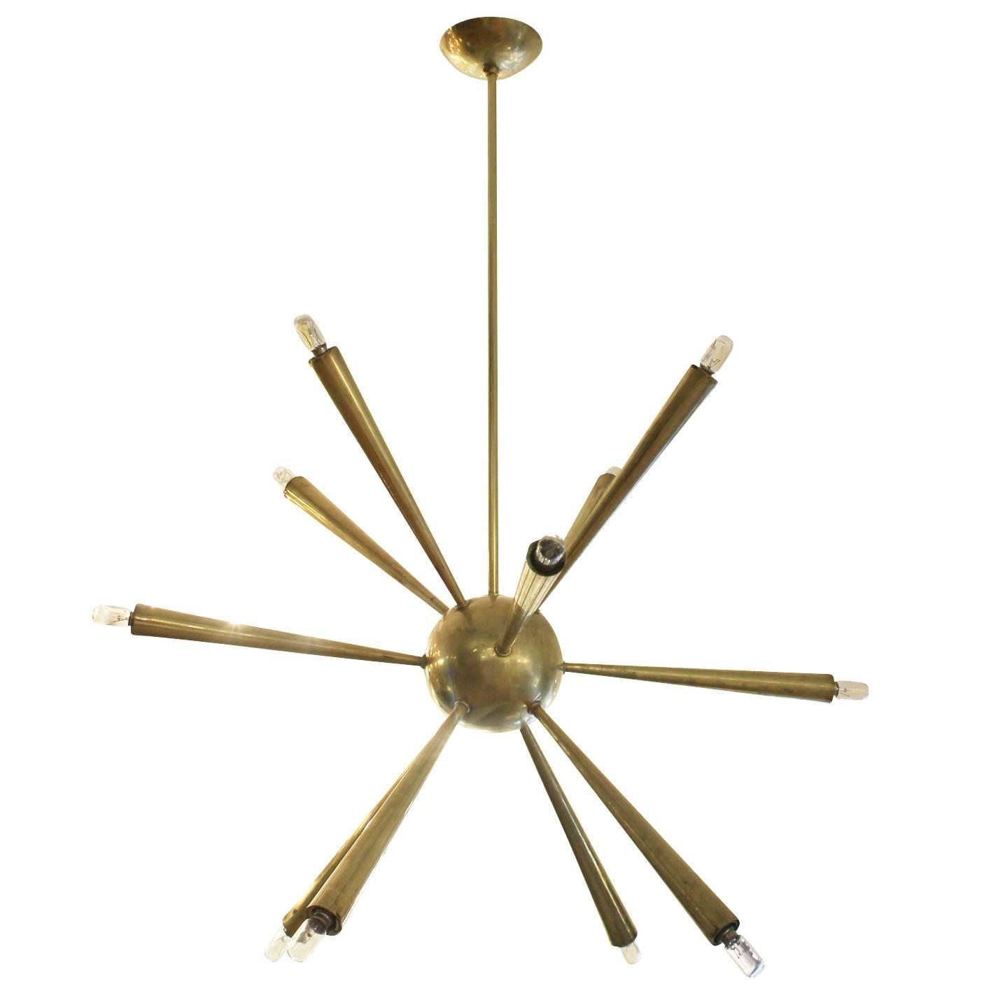 Early Brass Sputnik Chandelier, Italy, 1950s