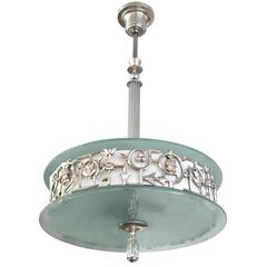 Swedish Art Deco Pendant with Silver Plate Grillwork, Stem and Canopy