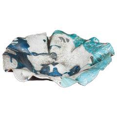 Contemporary Ceramic Sardinian Raku Bowl blue, grey, green, turquoise